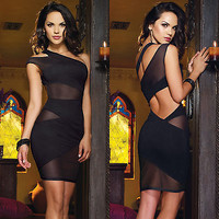 Sexy Black One Shoulder Cut Out Open Back Mesh Mini Cocktail Evening Club Dress