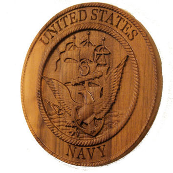 U.S. Navy Plaque - Custom Wood Sign - Engraved Wood Plaque - Wall Art - Home Decor