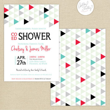 Co-Ed Baby Shower Geometric Triangles Invitation : Black/Aqua/Strawberry