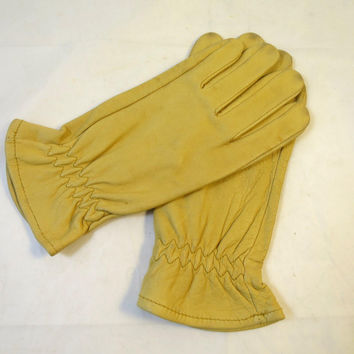 Vintage Leather Gloves Size Medium Deer Hide Leather Driving Gloves Elastic Wrist Gates Brand Gusset Fingers Unlined Soft, Supple
