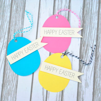 Shoppaperhoney on etsy on wanelo 12 easter egg gift tags colorful easter tags hang tags with bakers twine negle Image collections