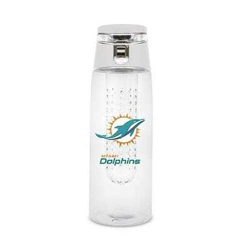 Miami Dolphins Sport Bottle 24 oz Plastic Infuser Style