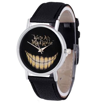 Women Men Leisure Time Faux Leather Analog Smiling Face Wrist Watch