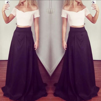 Off Shoulder Two Piece Long Prom Dresses