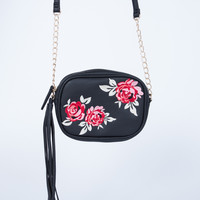 Embroidered Rose Bag