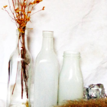 trio clear and white hand painted vases jars vessels upcycled square bottles  farmhouse shabby cottage chic decor milk glass