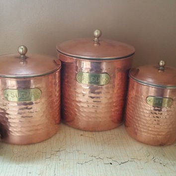 Copper Hand Hammered Canister Set Flour Sugar Coffee Canisters