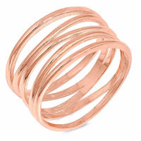 Sterling Silver Rose Gold-Tone Plated Crooked Lines Filigree Ring 10MM