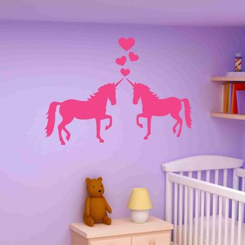 Unicorns In Love Wall Decal Sticker, Girl's Room Vinyl Wall Art, Nursery Wall Decor