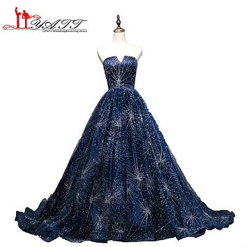 2017 Custom Made New Arrival Navy Blue Sparkling Strapless Ball Gown Amazing Vintage Arabic Evening Prom Dresses LIYATT