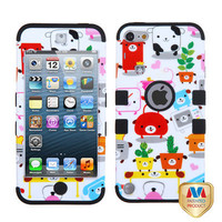 iPod Touch 5th Gen White Pink Red Dog Puppy Armor Hard & Soft Rubber Hybrid Case