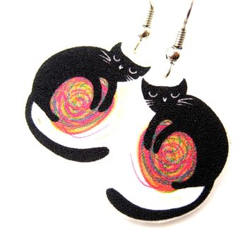 Black Kitty Cat and a Ball of Yarn Watercolor Animal Dangle Earrings | Handmade