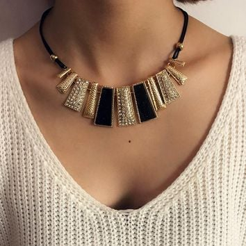 Newest Creative Fashion Design Beads Enamel Bib Leather Braided Rope Chain Necklace Accessories Sexy Chain Irregular geometry