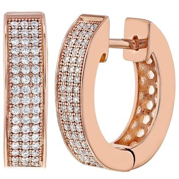 18k Rose Gold Plated Clear CZ Hoop Huggie Teens Women Earrings