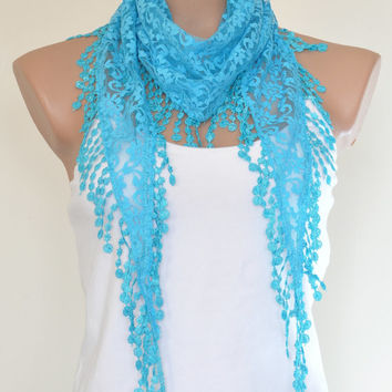 Lace Scarf Turquoise Blue Scarf Lace Fringe Scarf Triangle Scarf Fringe Shawl Lace Headband Fashion Accessory Women Accessory Christmas Gift