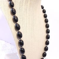 Vintage Black Beaded Necklace Oval Beads Baubles Retro Jewelry Fashion Accessories For Her