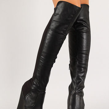 Mixed Media Platform Wedge Thigh High from URBANOG | Things I