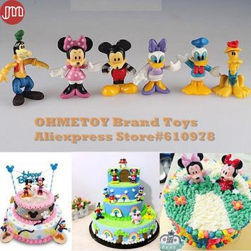 OHMETOY 6PCS Mickey Mouse Toys Minnie Pluto Donald Duck Action Figure Baby Dolls Soft Rubber 6-8cm Cake Toppers Birthday Gift