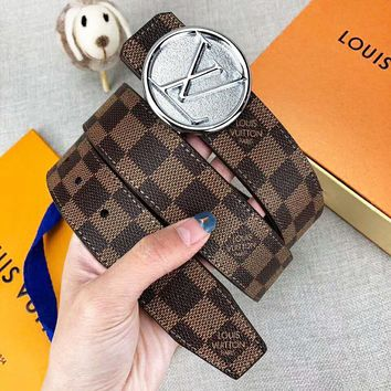 LV Louis Vuitton New fashion letter buckle plaid leather couple belt width 3.4 CM