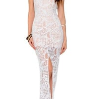 Marrakech Lace Slit Maxi Dress - Ivory + Nude