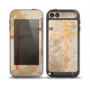 The Tan Splattered Color-Crosses Skin for the iPod Touch 5th Generation frē LifeProof Case