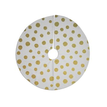 "Nika Martinez ""Golden Dots"" White Yellow Tree Skirt"