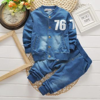Trendy BibiCola baby  Boys clothing set kids Sports Suits toddler Casual Jacket Fashion Long Sleeve Kids Clothing Sets  Denim Suits AT_94_13