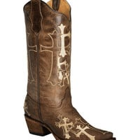 Circle G Beige Cross Embroidered Cowgirl Boots - Snip Toe - Sheplers