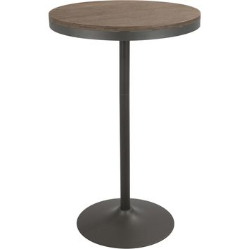 Dakota Industrial Adjustable Bar / Dinette Table, Grey & Brown