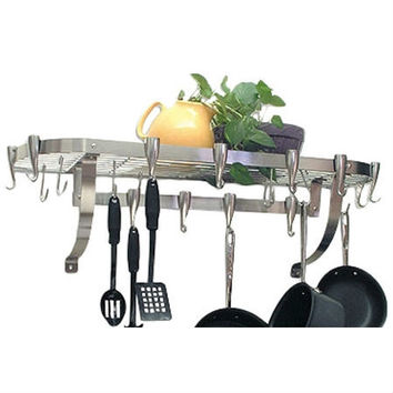Stainless Steel Wall Mount Pot Rack with 10 Pan Hooks