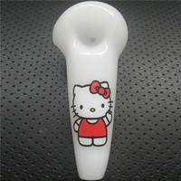 "White Spoon Pipes Hello Kitty 4"" inches Hand Pipes High Quality Oil Burner Glass Pipes Tobacco Smoking Pipes Hand Blown Lovely Glass Pipes"