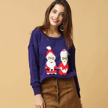 Sweaters Femme Women Knitted Sweater 2017 Autumn Winter New Cartoon Christmas Couple Casual Tops Pullover Loose Plus Size Jumper