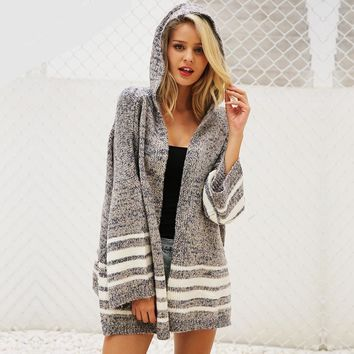 Hoodie Knit Fleece Cute Women Long Cardigan Ladies Sweater