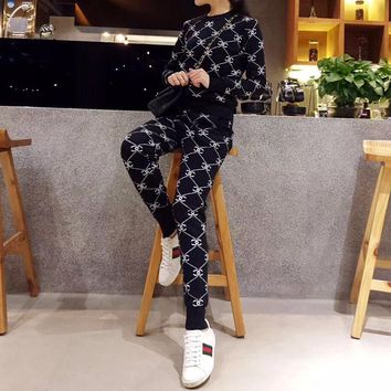 """Chanel"" Women Casual Fashion Knit Logo Letter Long Sleeve Sweater Trousers Set Two-Piece"