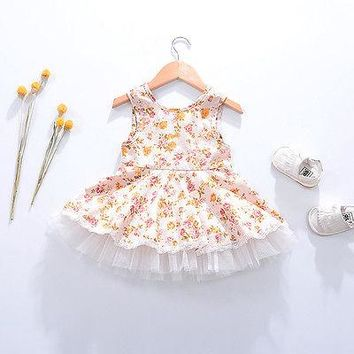 2017 Latest Fashion Summer Flower Kids Baby Girls Princess Pageant Wedding Party Tutu Lace Dresses