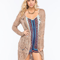 Chloe K Boho Pattern Womens Cardigan Mocha  In Sizes