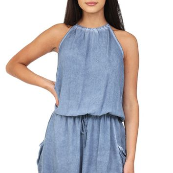 Faded Blue Halter Dress at Blush Boutique Miami - ShopBlush.com : Blush Boutique Miami – ShopBlush.com