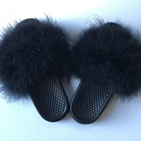 Just do it Nike Black faux fur slides