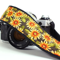 Daisy dSLR Camera Strap, Yellow, Orange, Daisy, Floral