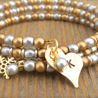 Personalized Silver and Gold Snowflake Bangle Wrap Bracelet by Cheydrea