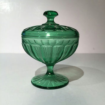 Green Depression Glass Pedestal Candy Jar with Lid, Northwood Green Depression Glass Pedestal Candy Bowl with Lid, Green Candy Dish with Lid