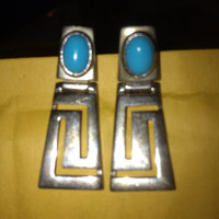 Inca Earrings Turquoise Sterling Silver 925 Jewelry 1960s 60s Vintage Southwestern Indian