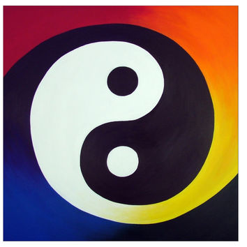 Balance - 5x5 Folded Greeting Card of Rainbow Yin Yang Acrylic Paint Fine Art