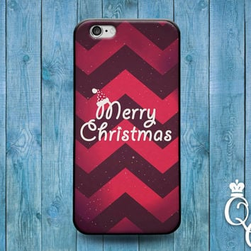 iPhone 4 4s 5 5s 5c 6 6s plus + iPod Touch 4th 5th 6th Generation Cute Custom Red Chevron Merry Christmas Gift Present Happy Holiday Case