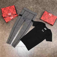 2 Pcs Set Under Armour Fashion Print Exercise Fitness Gym Yoga Running Short-sleeved T-shirt Leggings Sweatpants