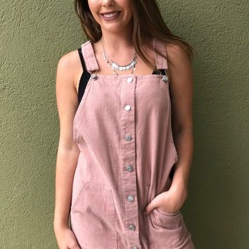 Cute As A Button Overall Dress - Mauve