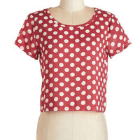 ModCloth Rockabilly Short Short Sleeves Cropped Easy to Spot Top in Red