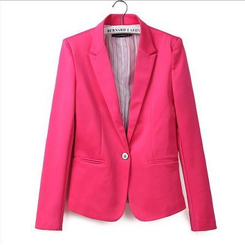 new hot stylish and comfortable women's Blazers Candy color lined with striped  suit   Free Shipping