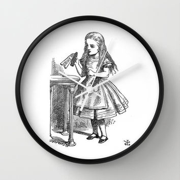 Drink Me vintage Alice in Wonderland emo goth antique book sketch drawing print Wall Clock by iGallery