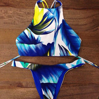 Fashion Print Halter Neck Swimwear Swimsuit Bikini